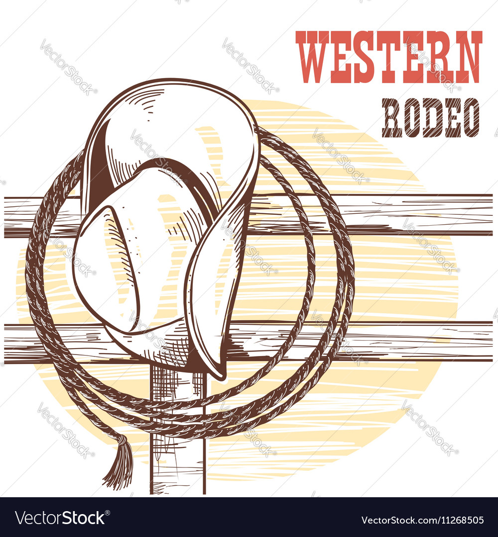American West cowboy hat and lasso on wood vector image