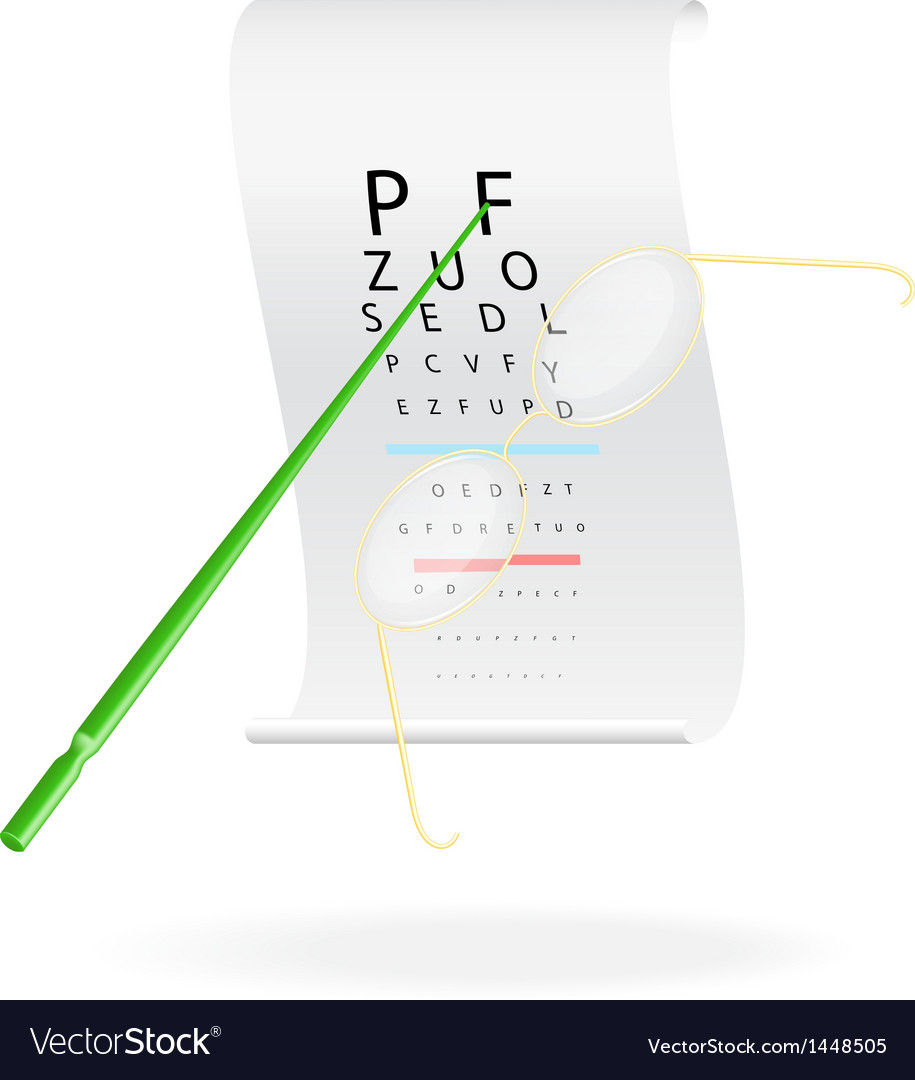 Glasses on a eye sight test chart royalty free vector image glasses on a eye sight test chart vector image geenschuldenfo Choice Image