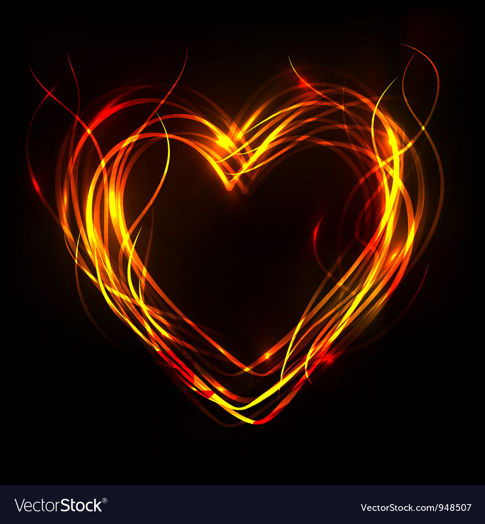 Fiery heart vector image