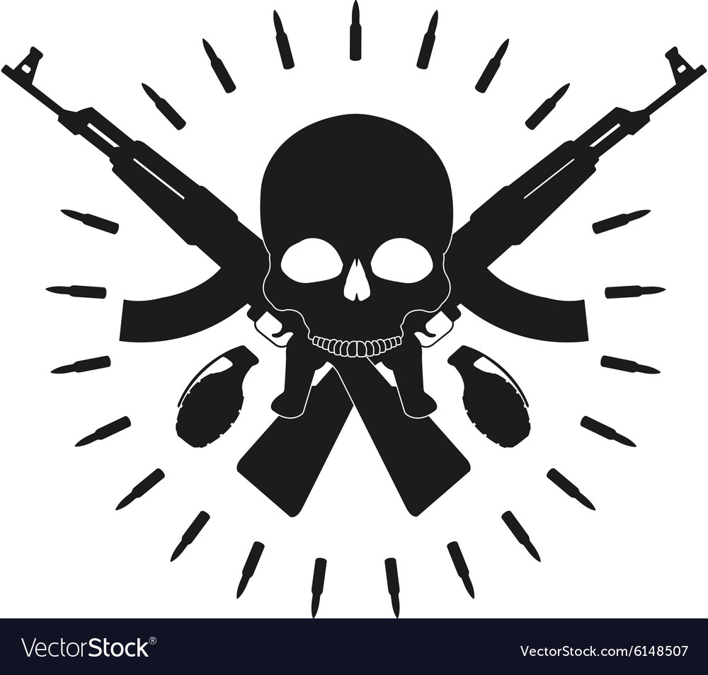 Skull 2 grenades 2 crossed assault rifles emblem vector image