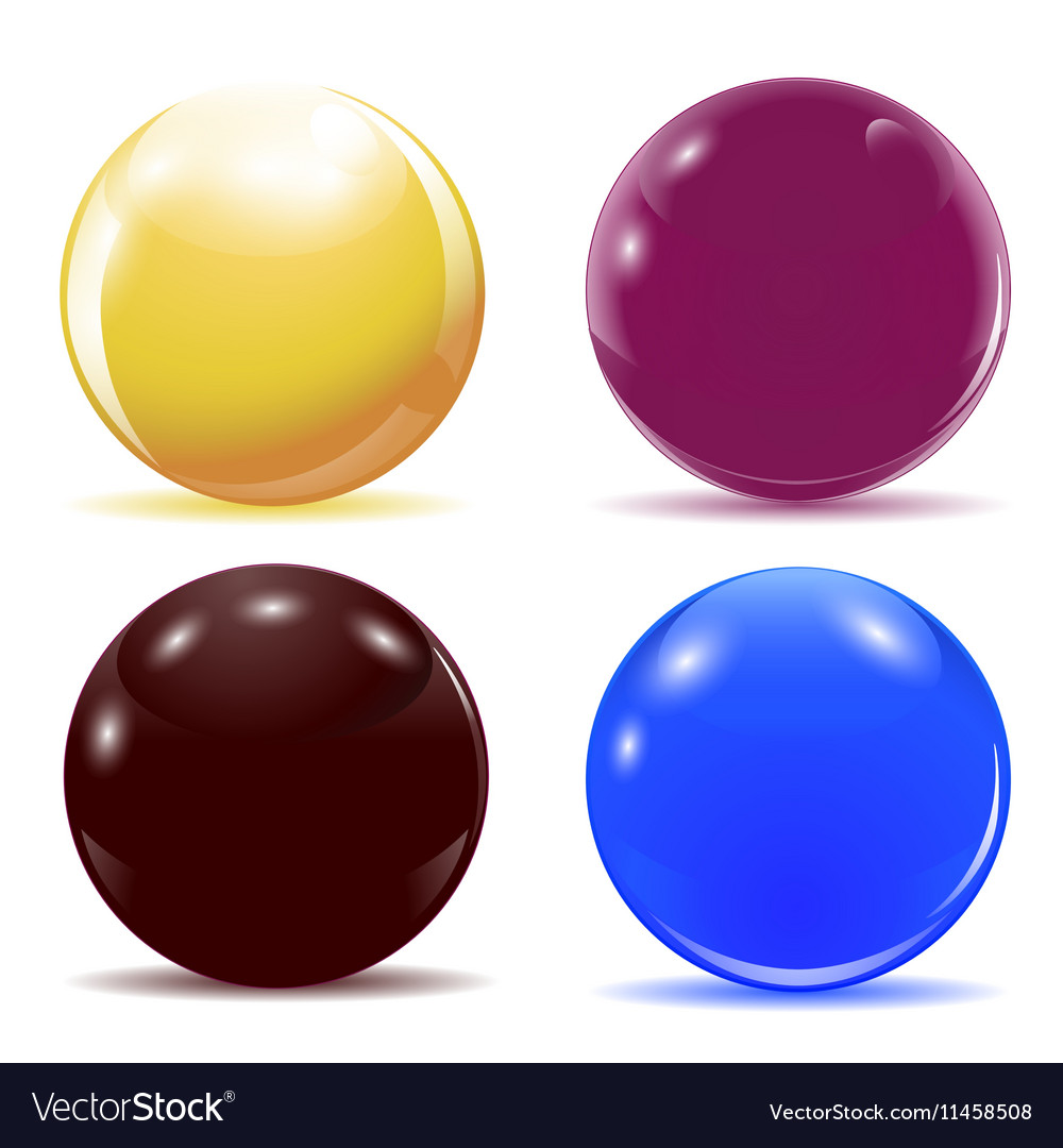 Set of multicolored glossy balls vector image