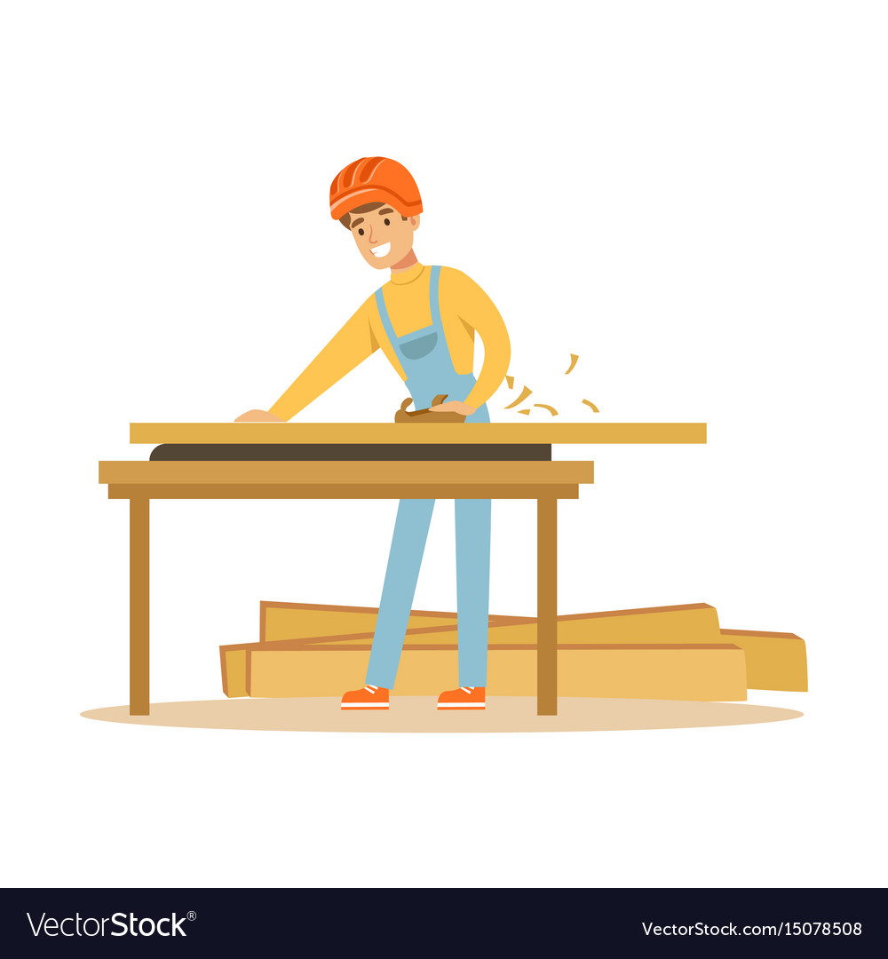 Young carpenter man working with wood in his vector image