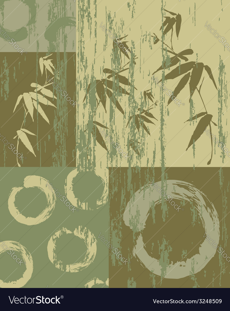 Zen circle and bamboo vintage green background vector image