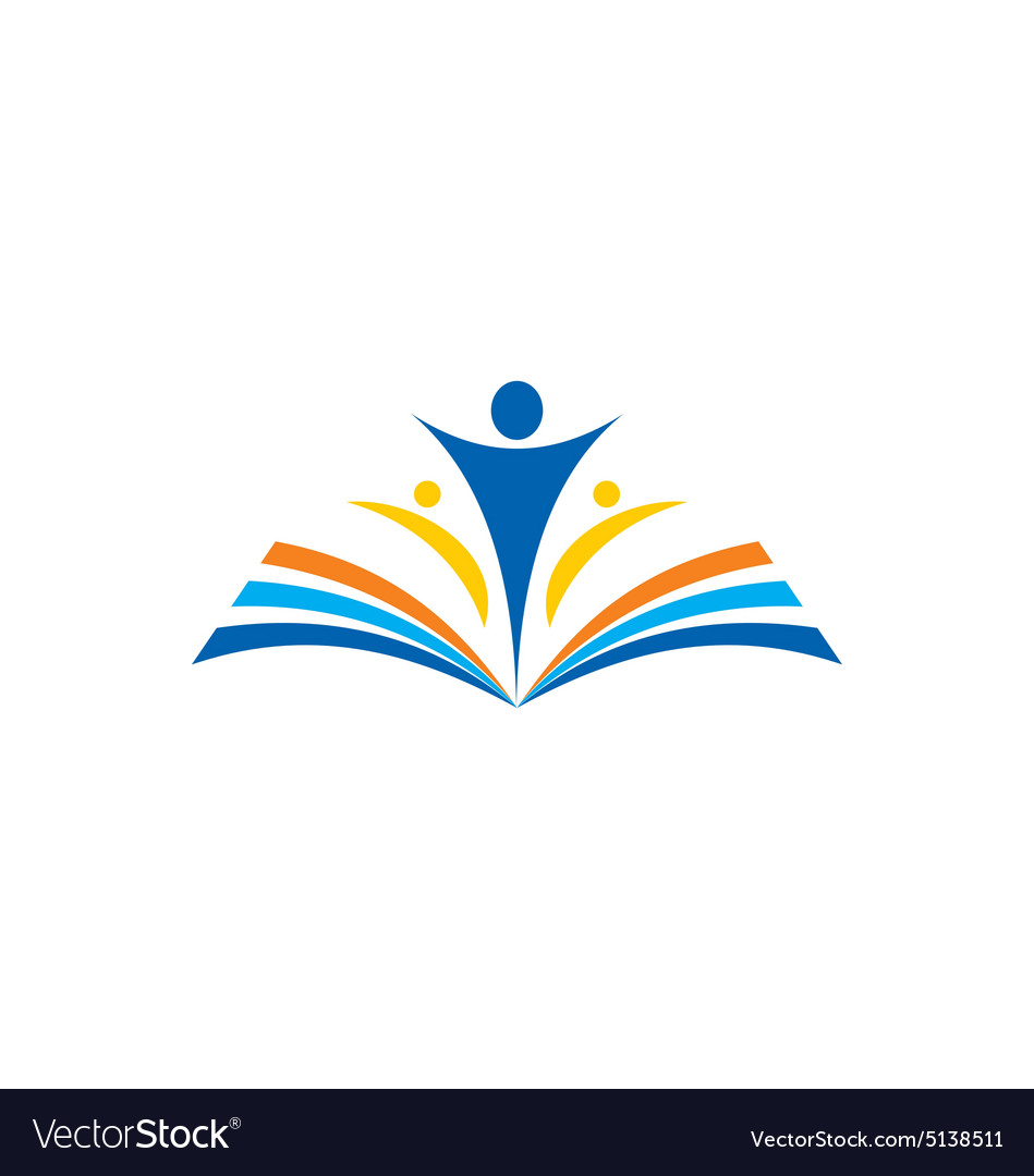 Book learn education school logo vector image