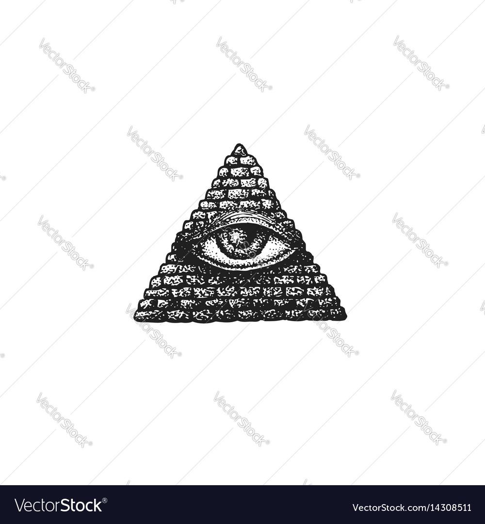 Hand drawn providence eye vector image