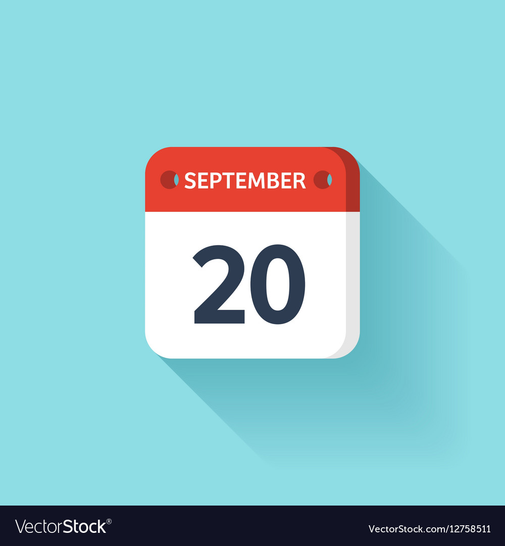 September 20 Isometric Calendar Icon With Shadow vector image