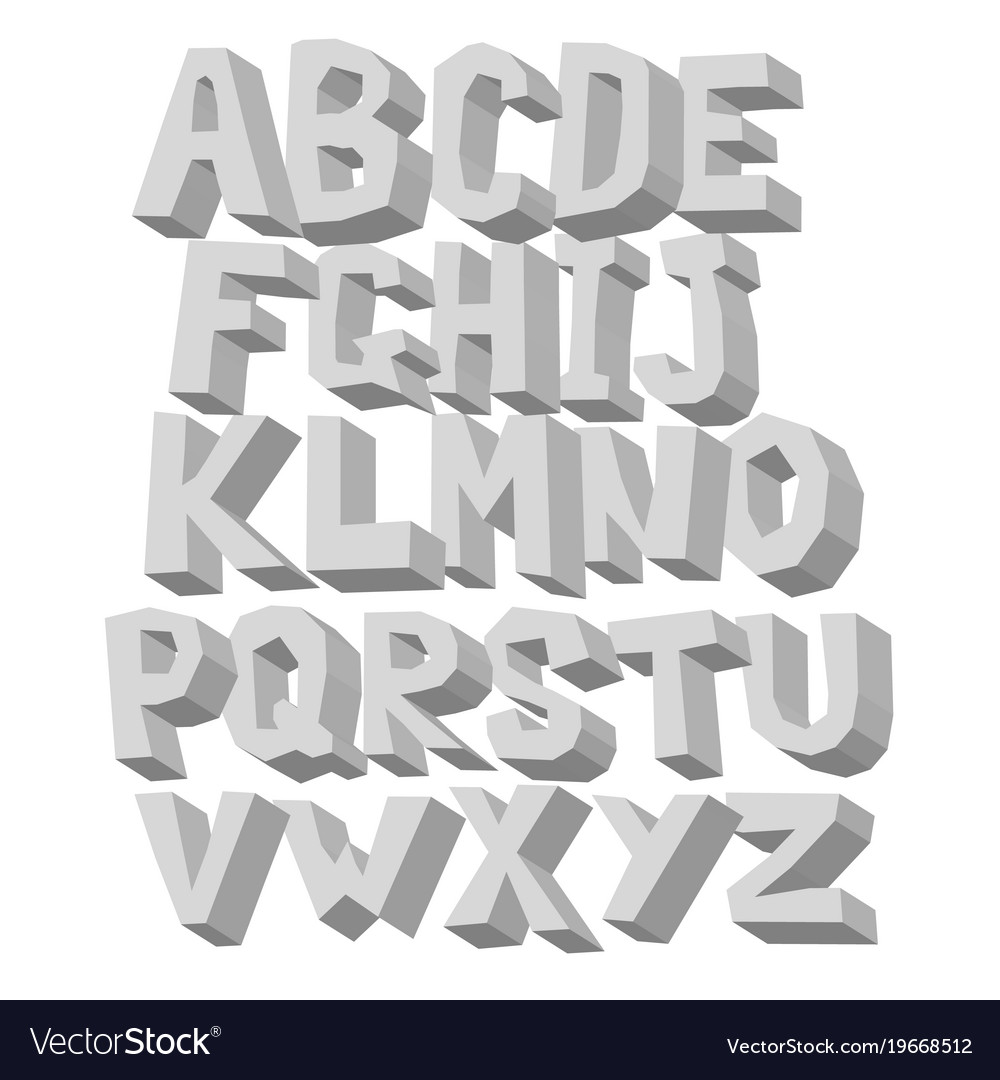 Gray white volume alphabet uppercase 3d letter on vector image