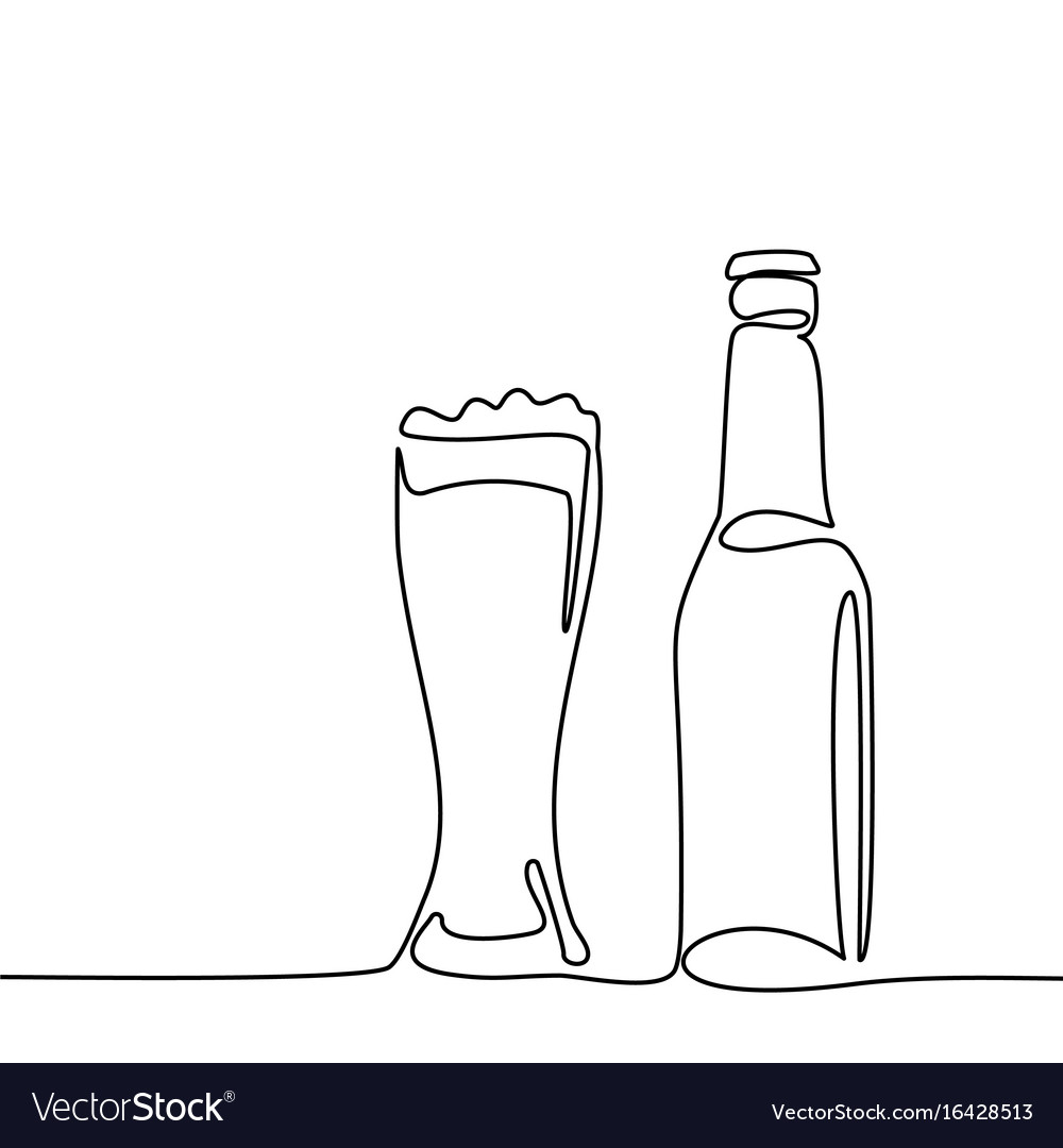 Beer bottle and glass with beer vector image