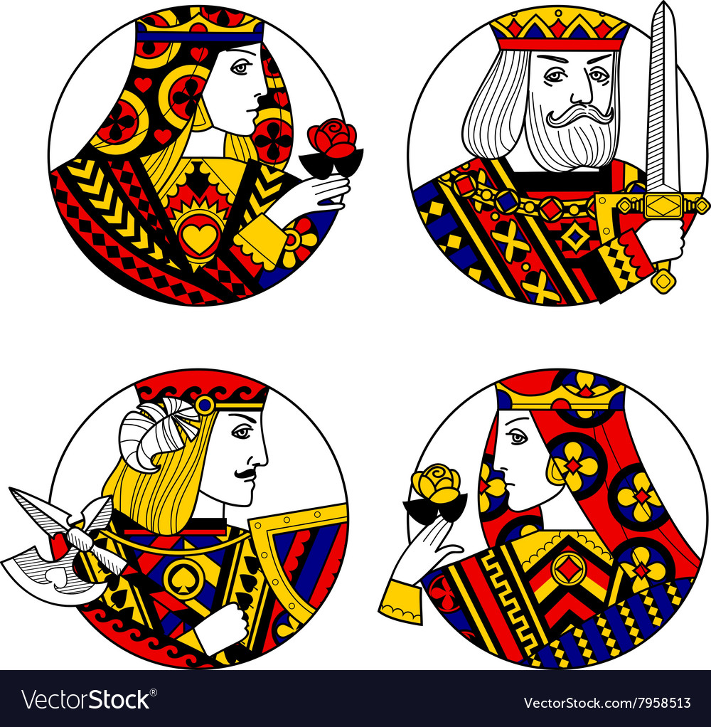 Round shapes with faces of playing cards character vector image