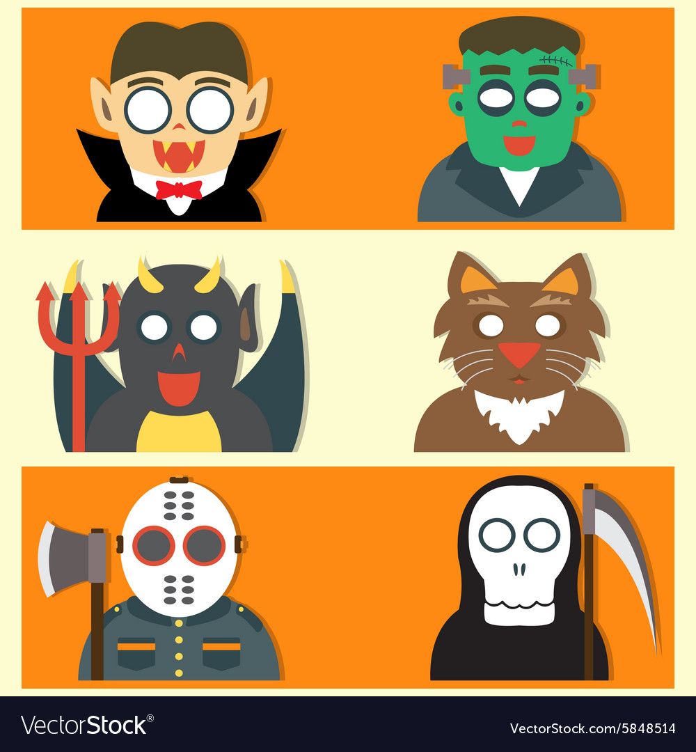 Cute Halloween Monsters Flat Cartoon Royalty Free Vector