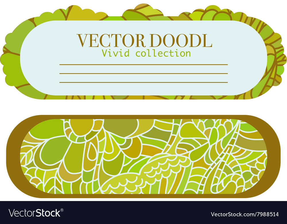 Doodle set of cards template vector image