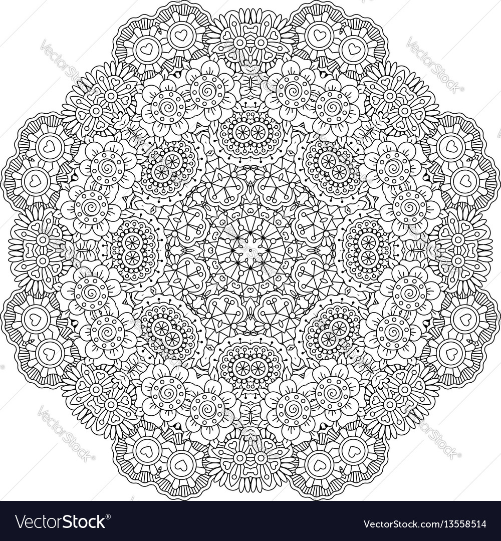 Round mandala decorative floral element vector image