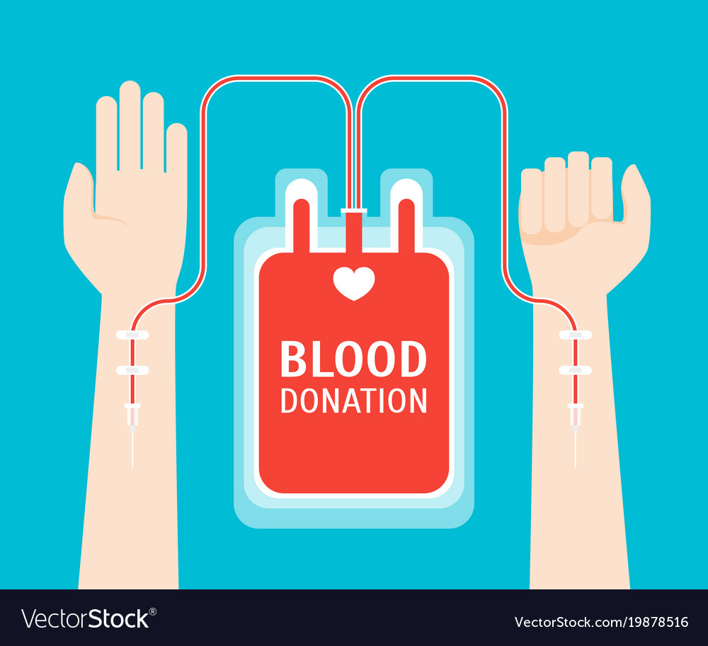 Cartoon blood donor service card poster vector image