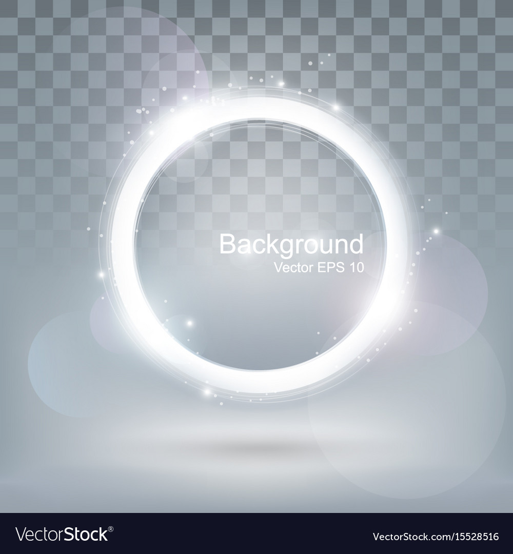 Glow light round shiny frame and glitter ring vector image