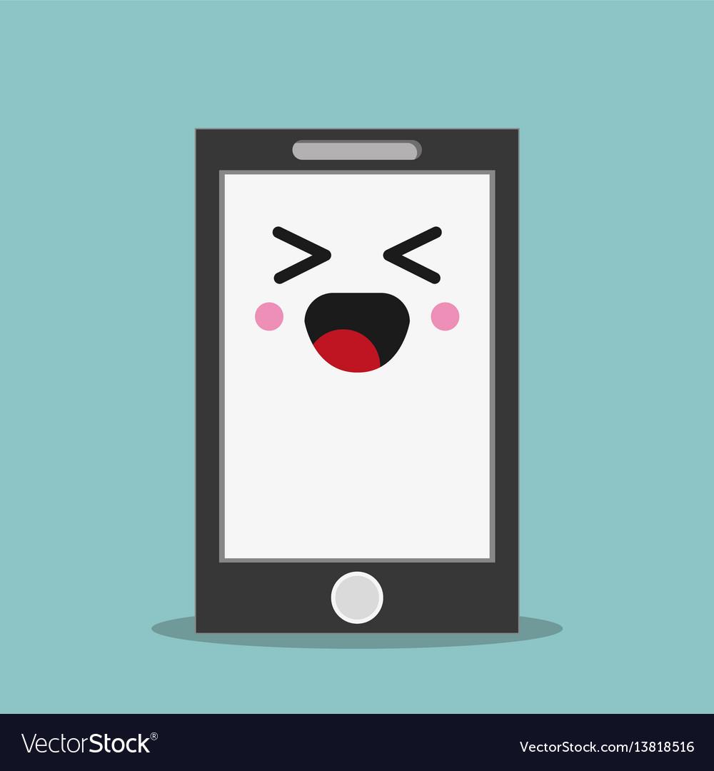 Kawaii smartphone facial expression vector image