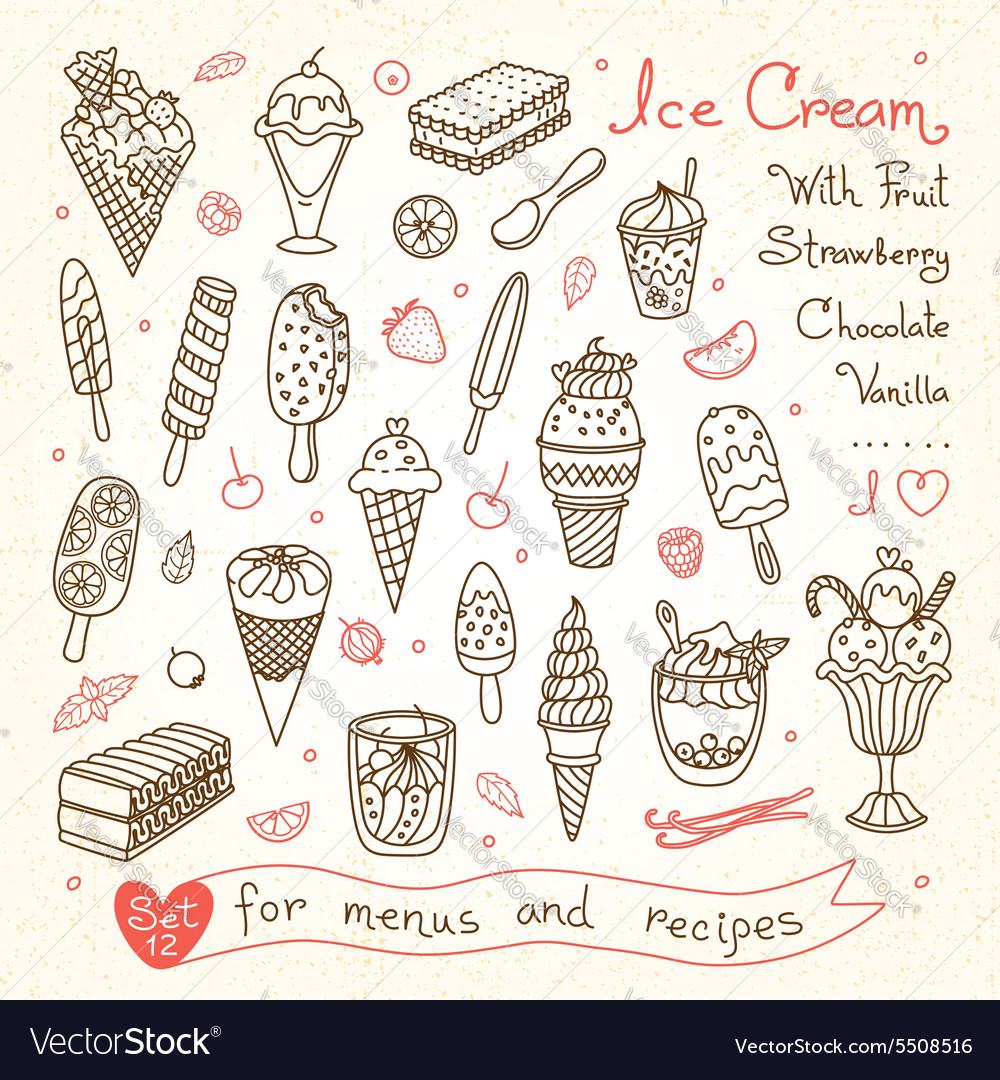 Set drawings of ice cream for design menus vector image