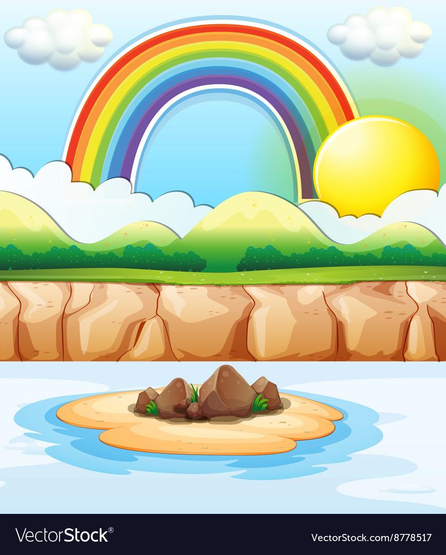 Scene with rainbow at sea vector image