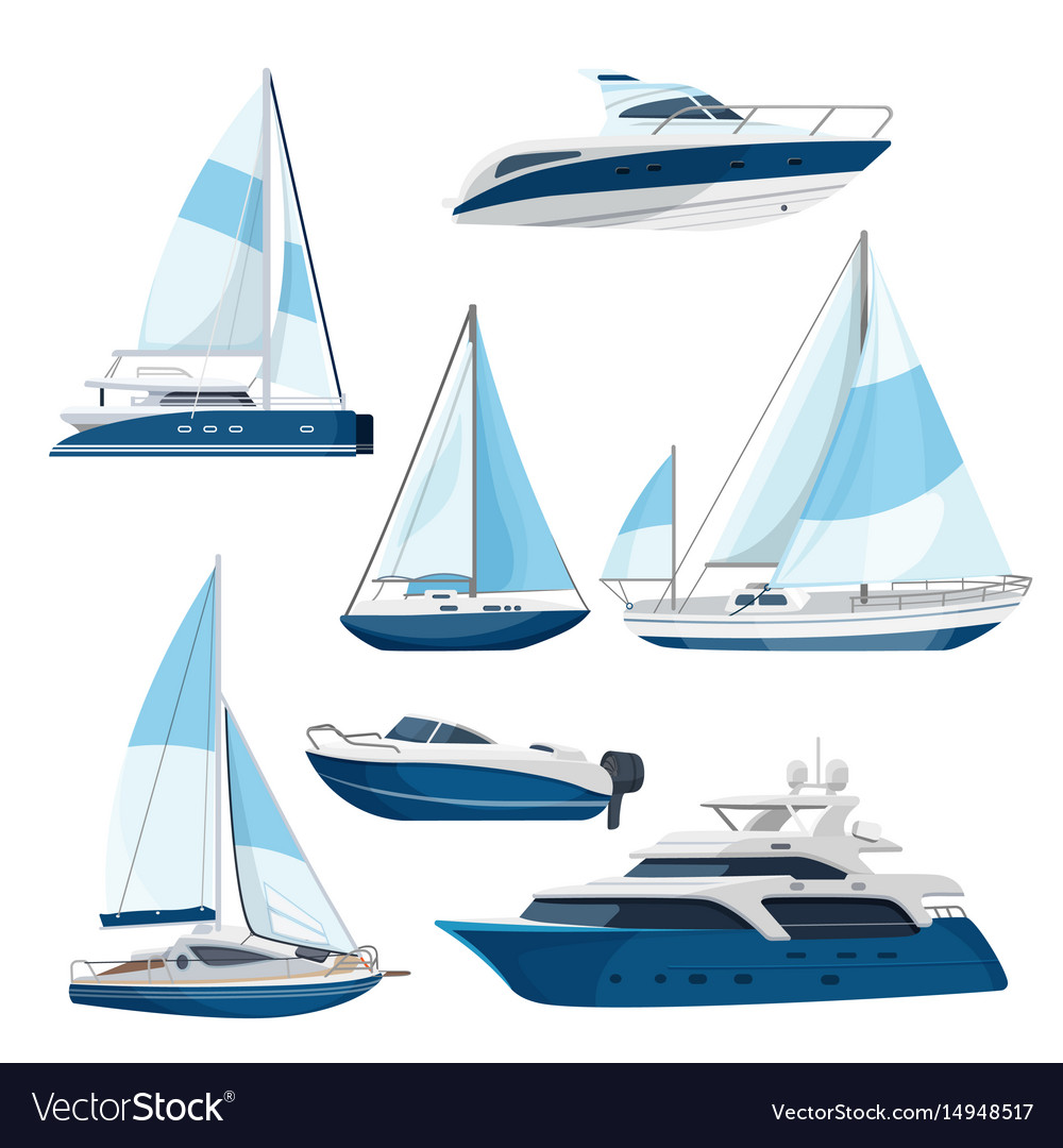 Set of boats with sails one and double decked vector image
