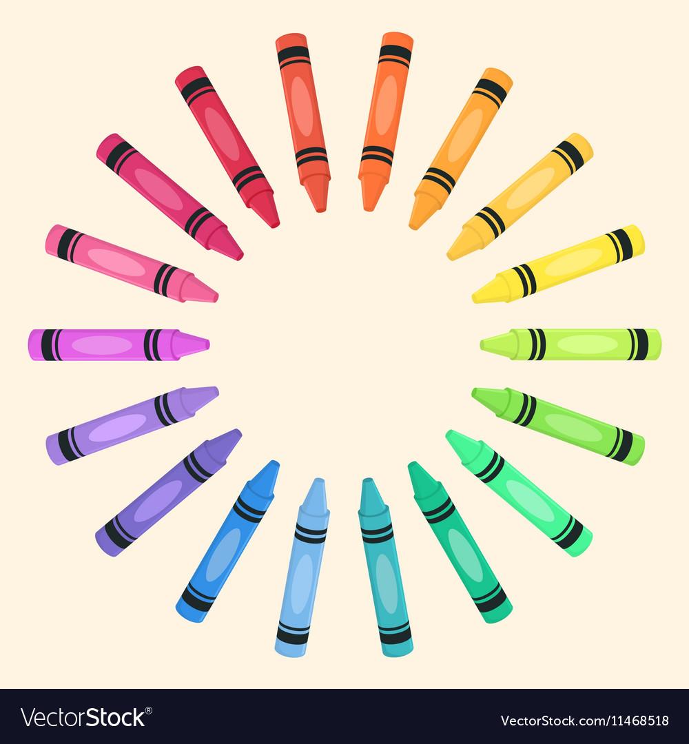 Crayons Circle Rainbow Color Frame vector image