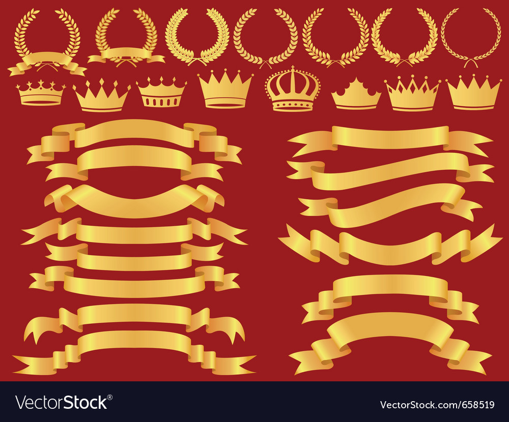 Gold bannerlaurel wreath and crown set vector image