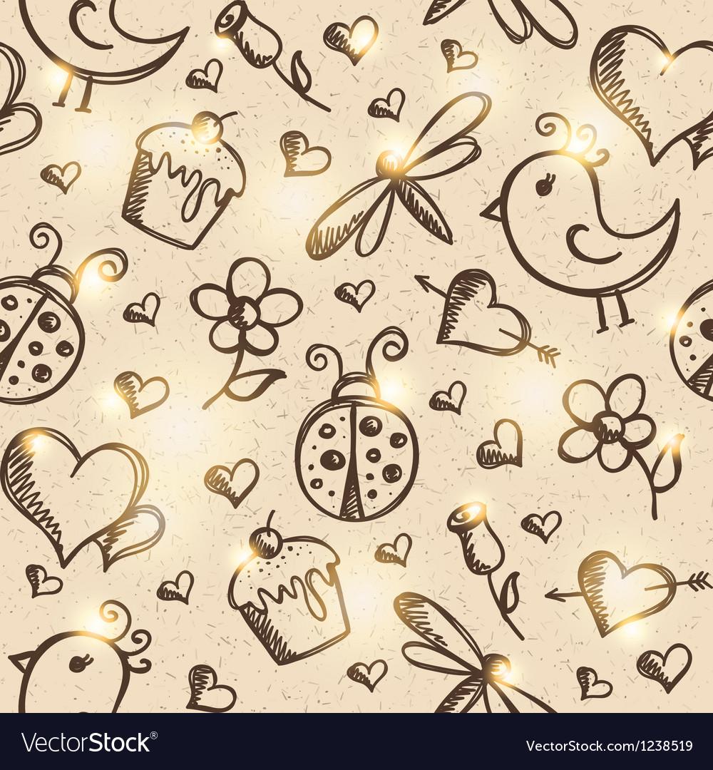 Romantic seamless pattern eps 10 vector image