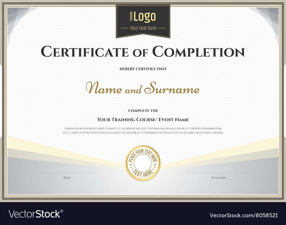 Certificate of completion template silver theme Vector Image – Blank Achievement Certificates