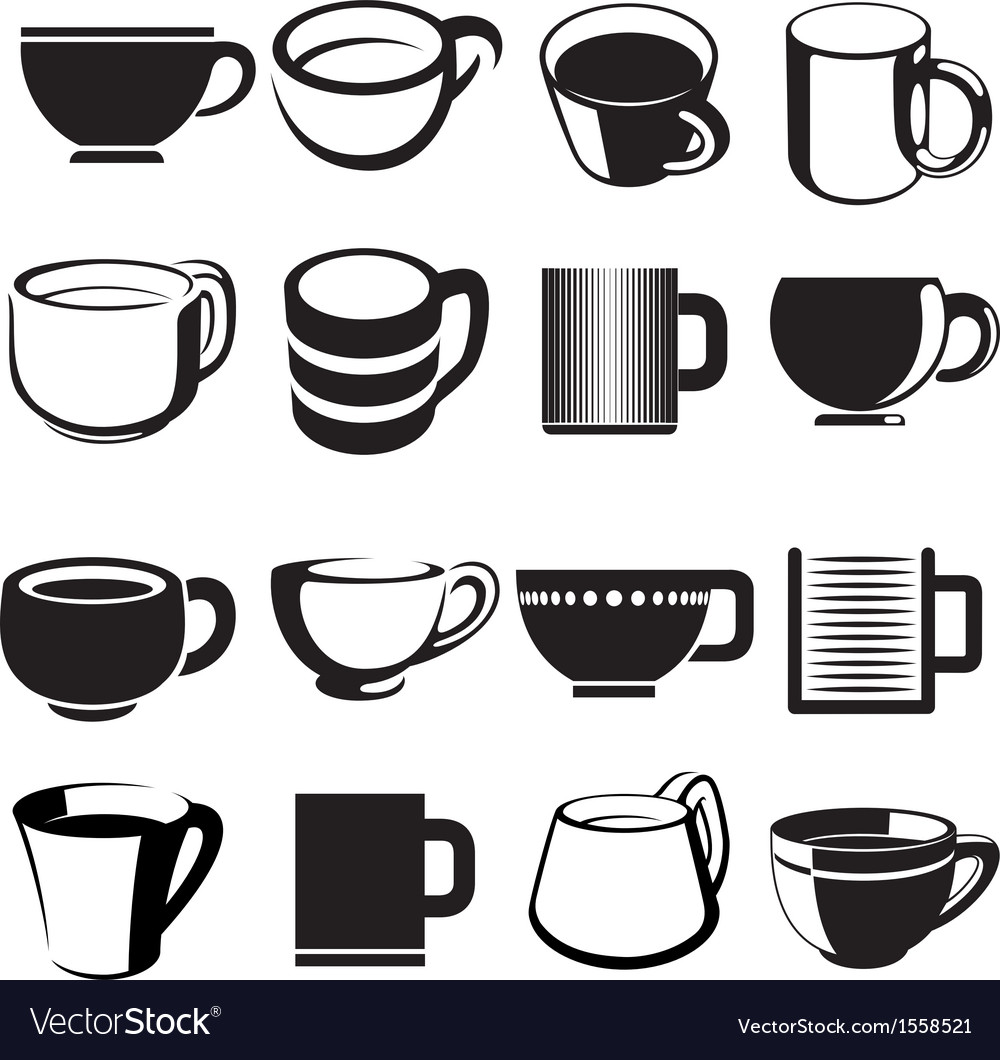 Cup icons set vector image