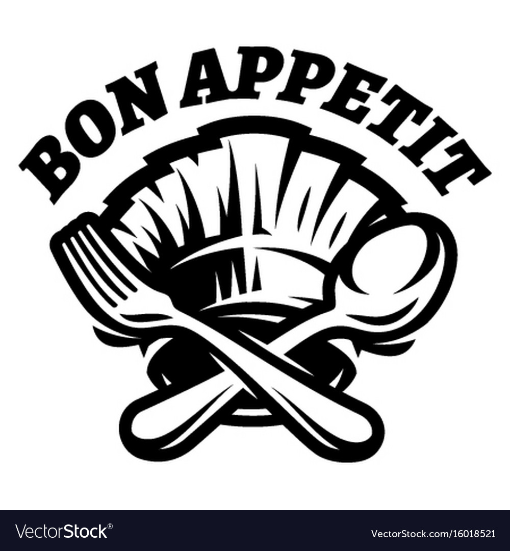 Monochrome template with fork spoon and vector image
