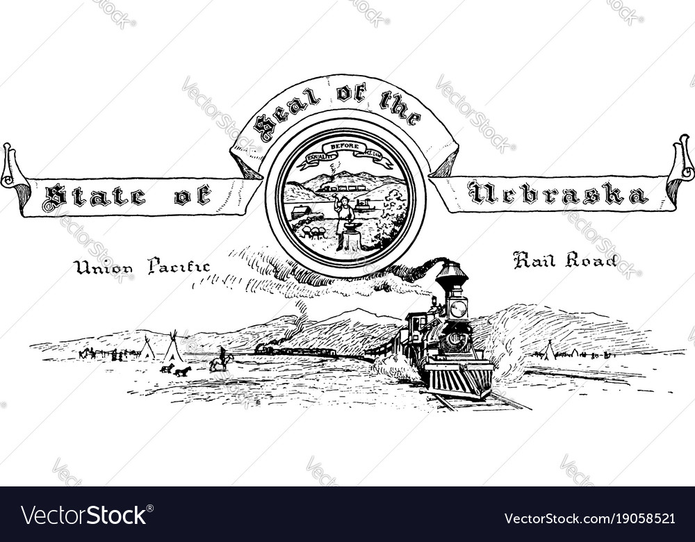 The united states seal of nebraska vintage vector image