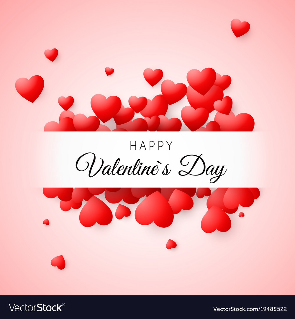 Valentines day greeting card confetti red heart vector image