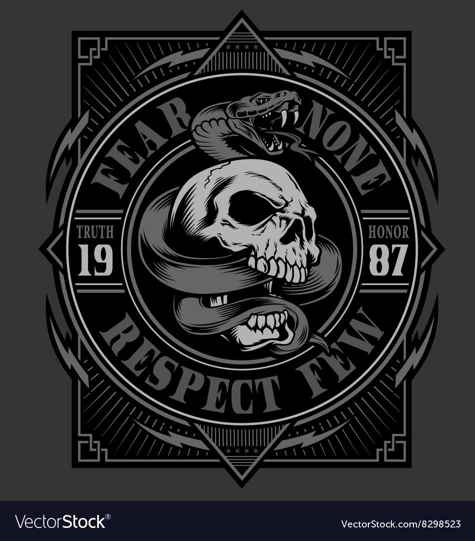 Design t shirt skull - Skull With Snake T Shirt Design Vector Image