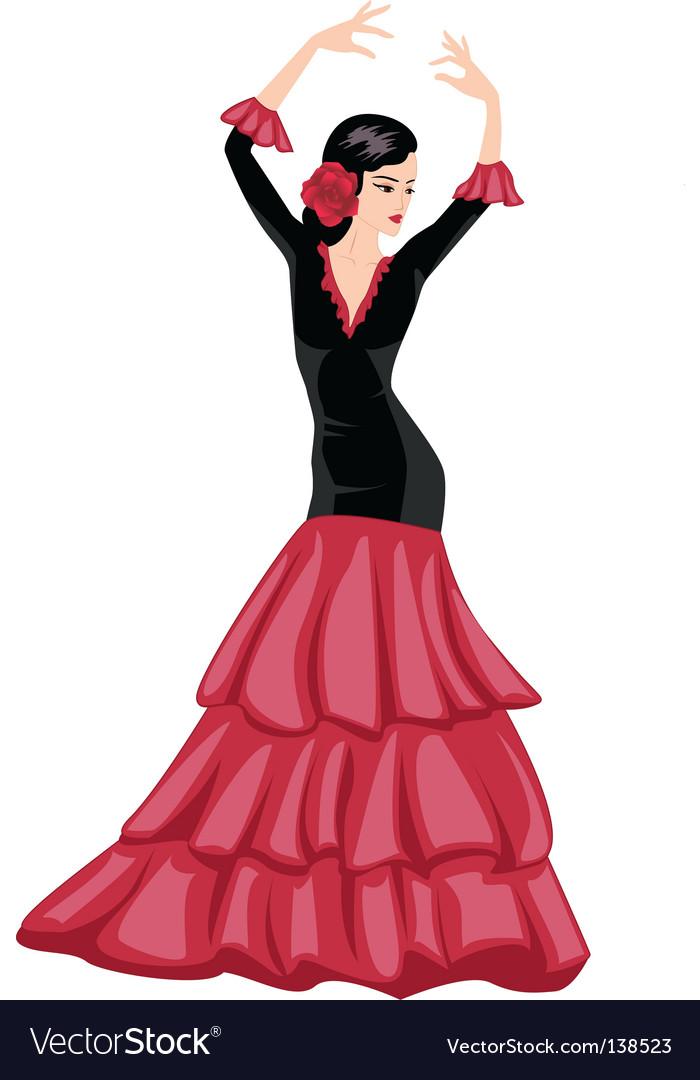 Woman dancing Spanish dance vector image