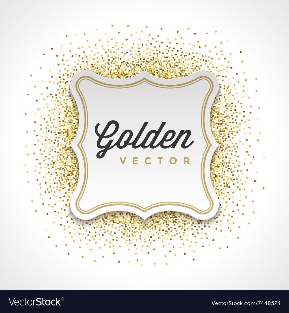 Gold Glitter Sparkles Bright Confetti White Paper vector image