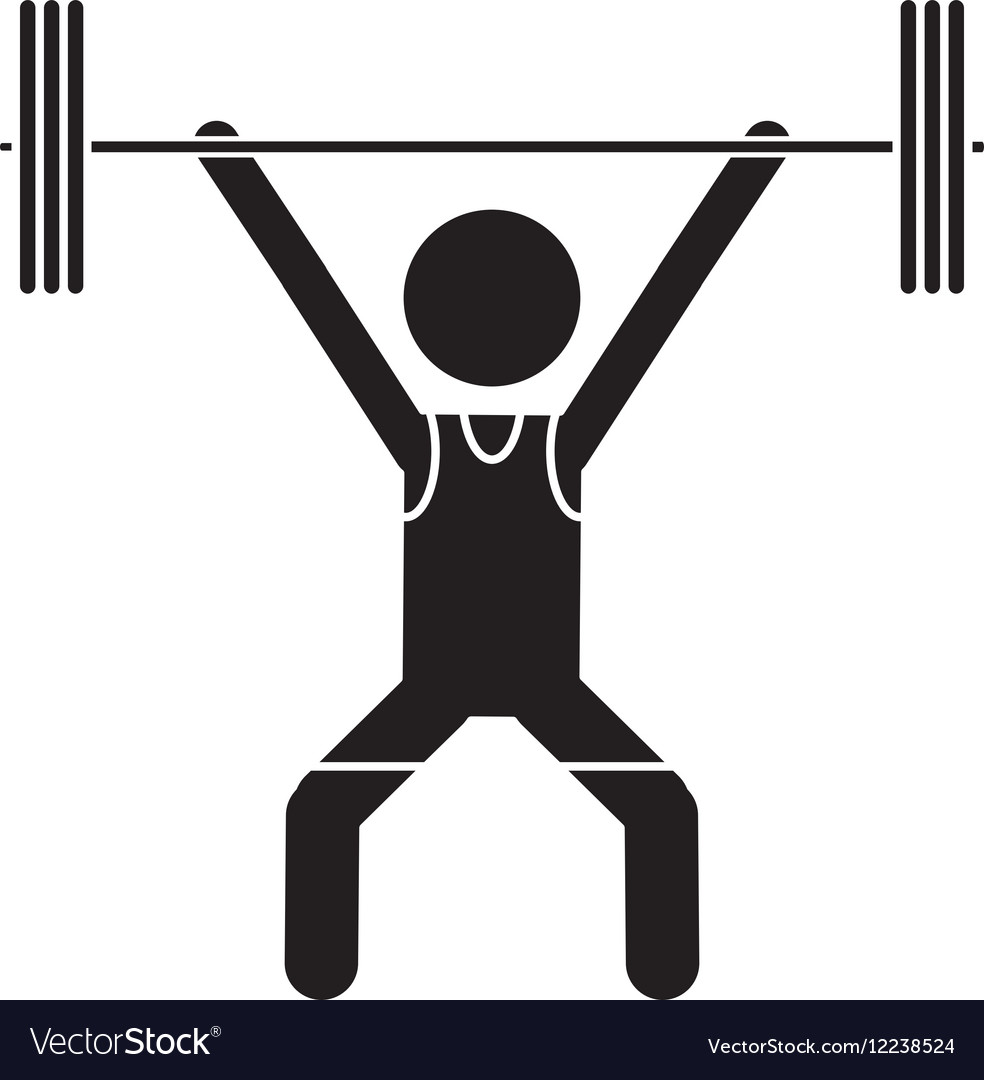 silhouette man weight lifter sport athlete vector image