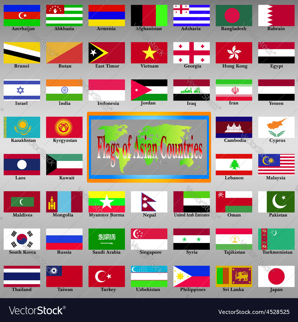 Asia Atlas East State Geography Symbol World Flag vector image