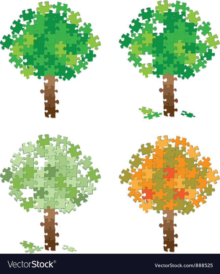 Tree puzzle set vector image