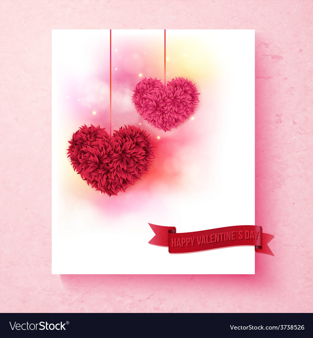Sentimental Valentine card design with hearts vector image