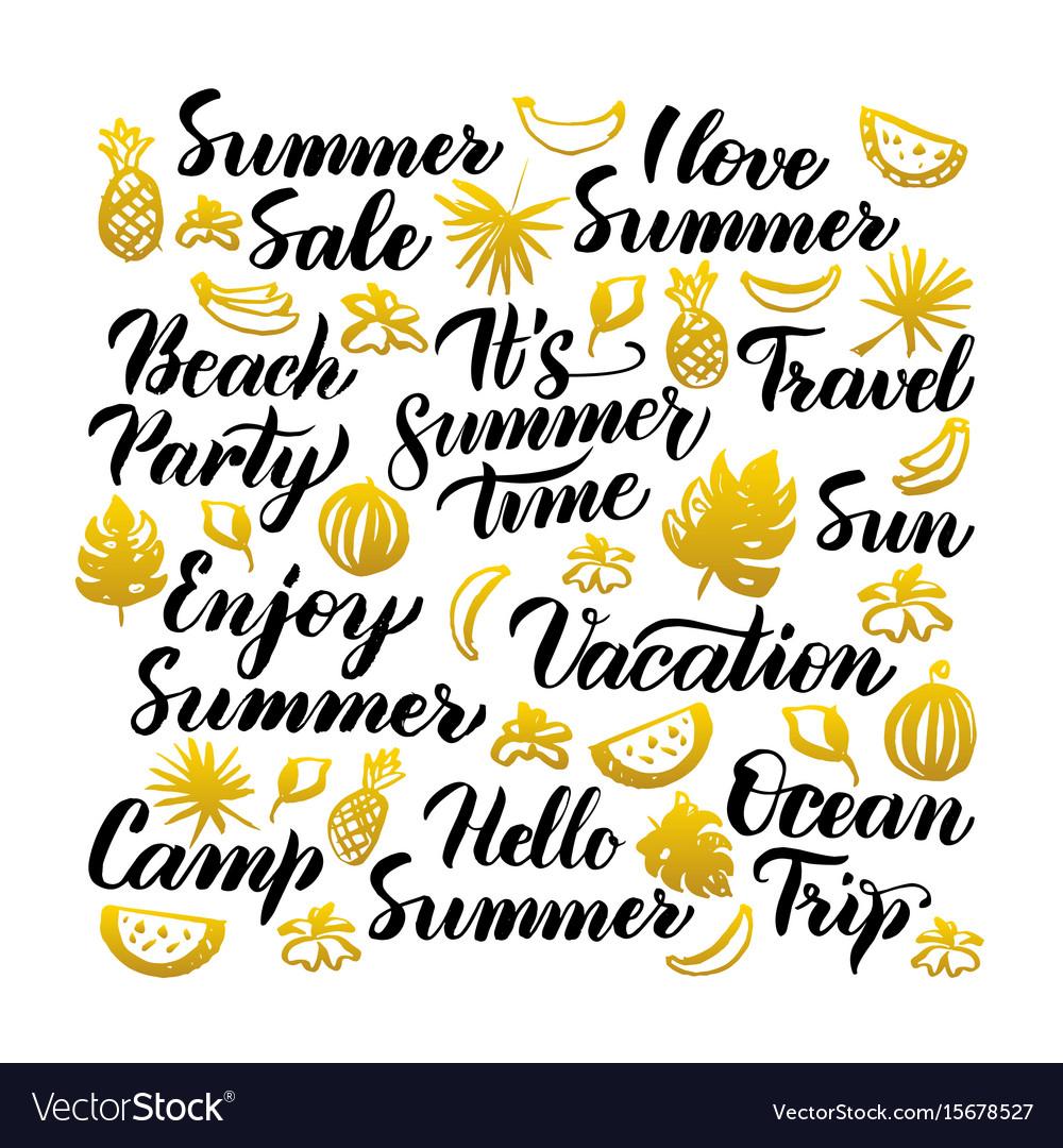 Summer time handwritten lettering vector image
