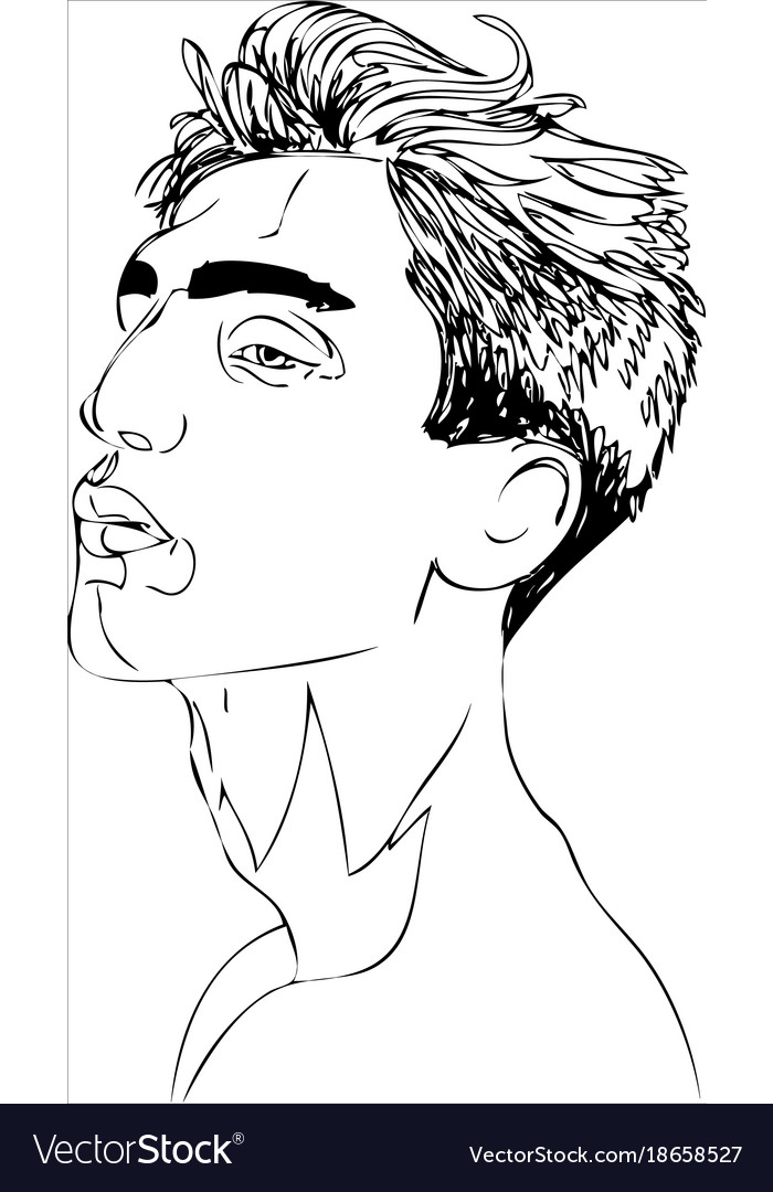 Young man one line design vector image