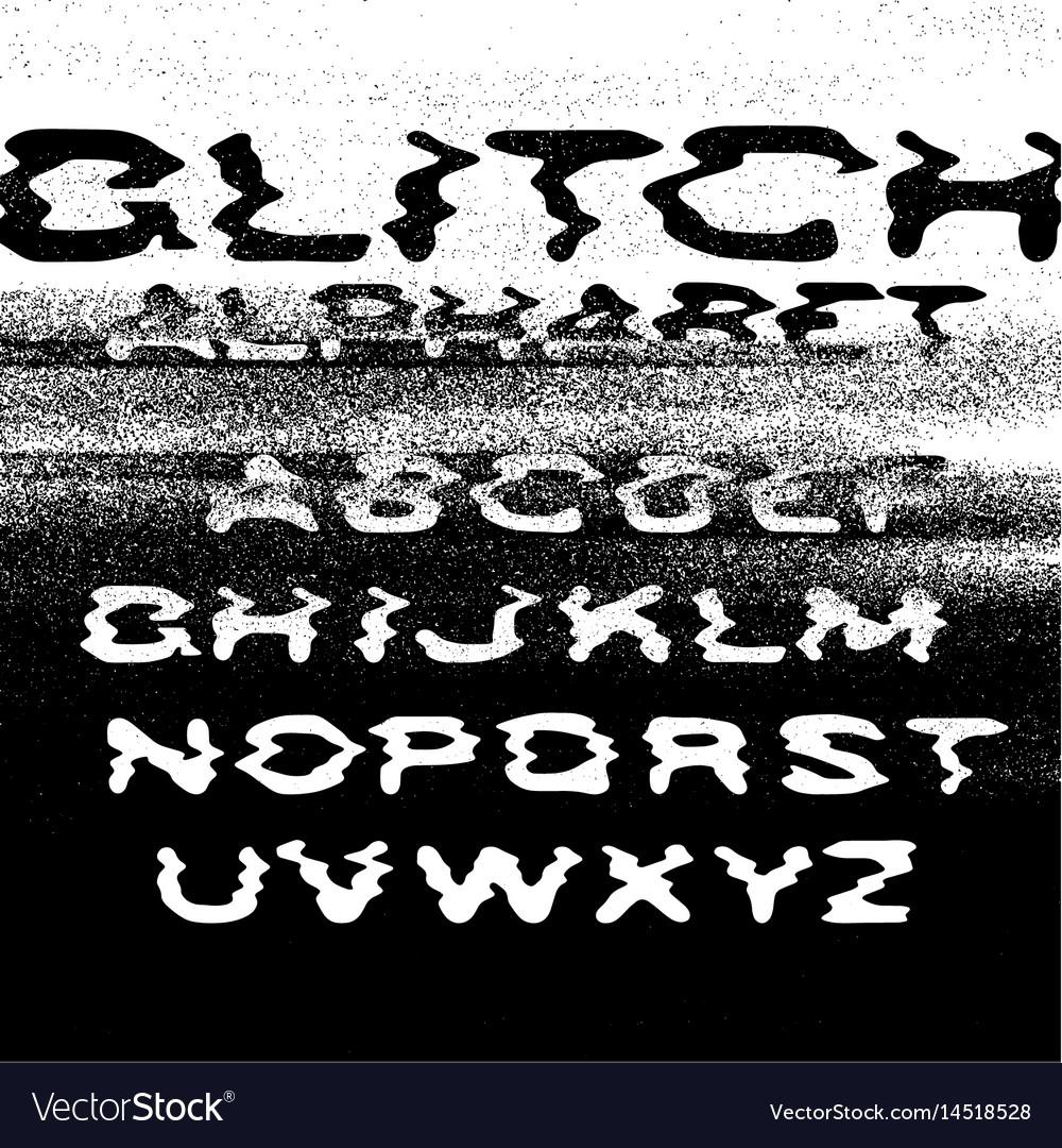 Glitch alphabet no signal background error vector image