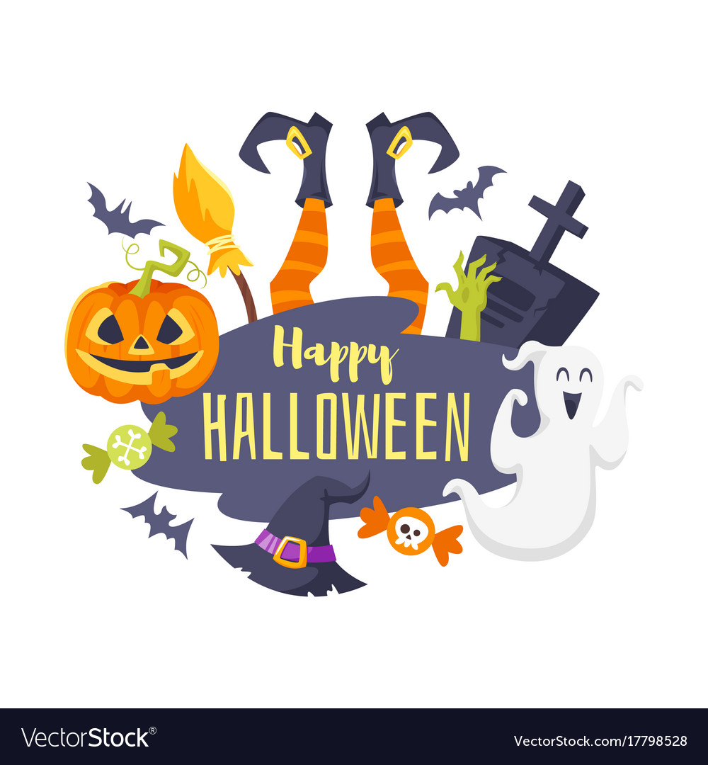 Template Greeting Card Royalty Free Stock Image: Halloween Greeting Card Template Royalty Free Vector Image