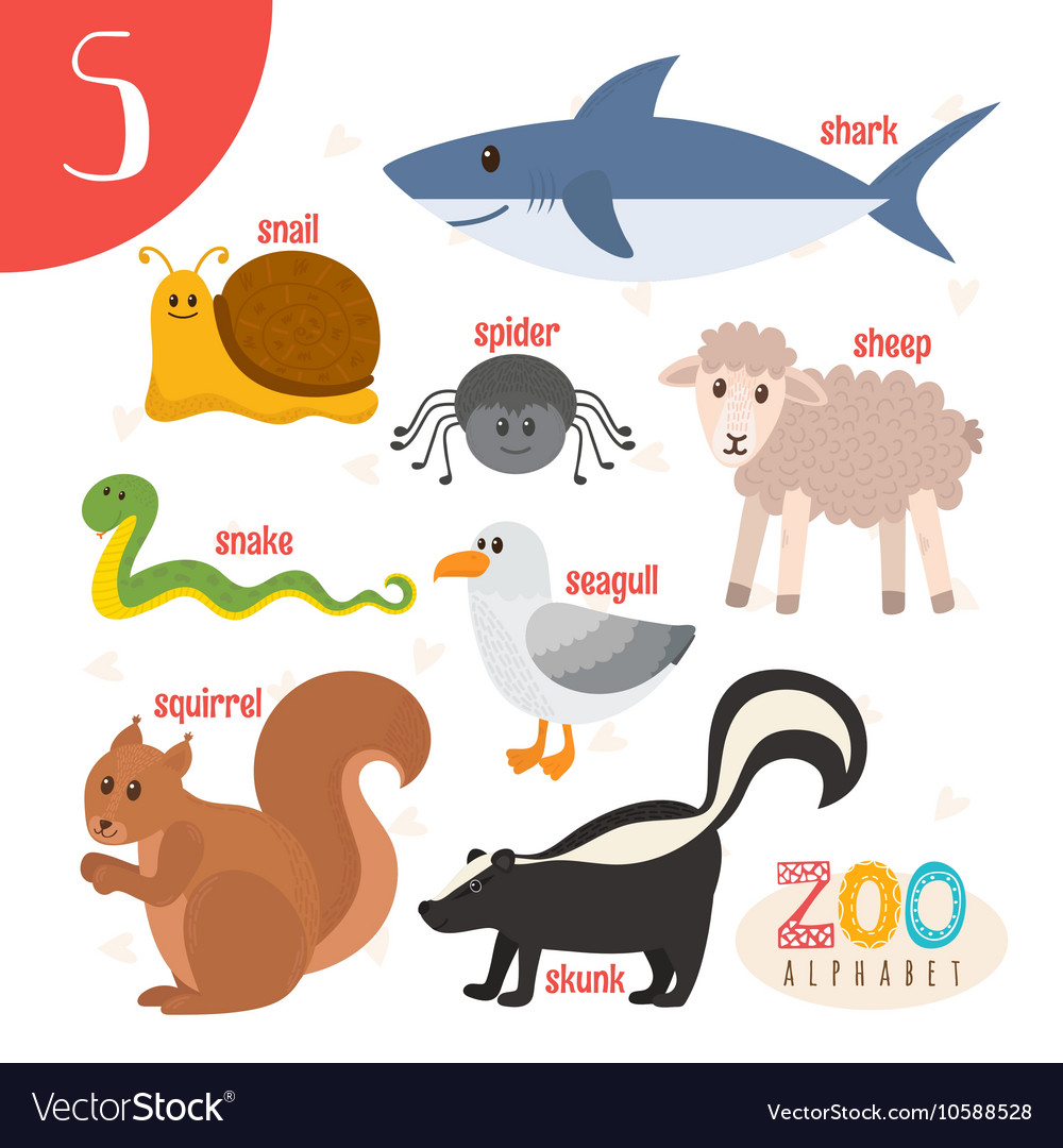 Letter S Cute animals Funny cartoon animals in vector image