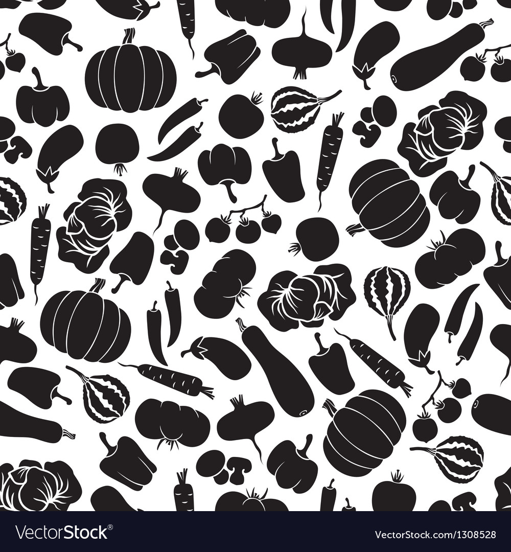 Vegetables pattern black vector image