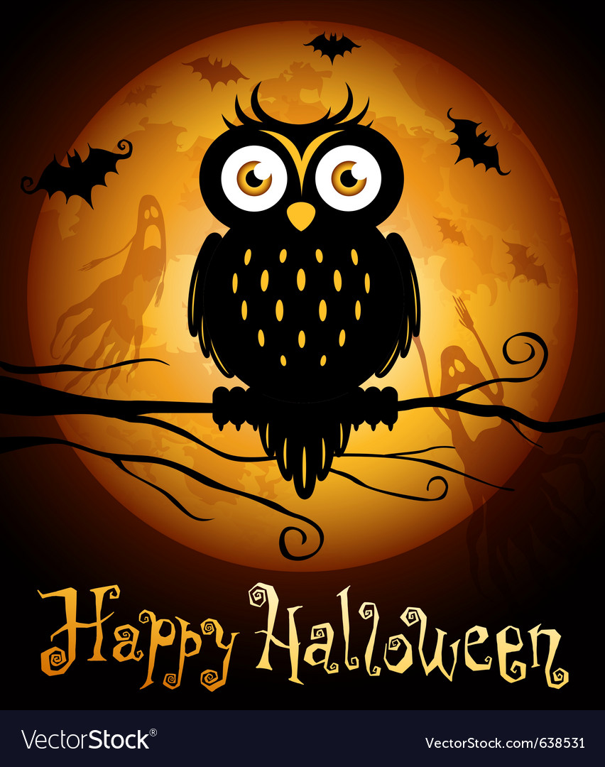 Halloween owl silhouette Royalty Free Vector Image