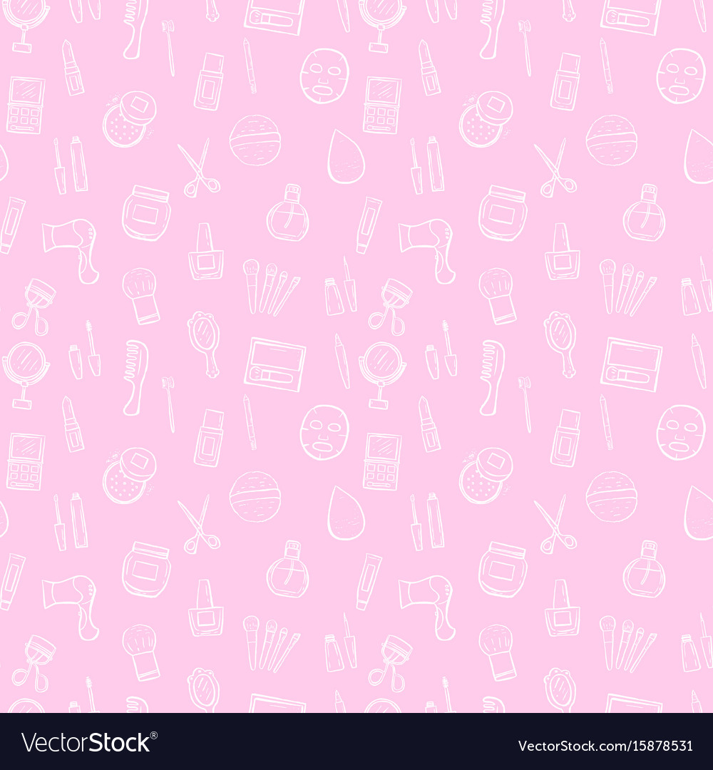 Makeup seamless pattern background set vector image