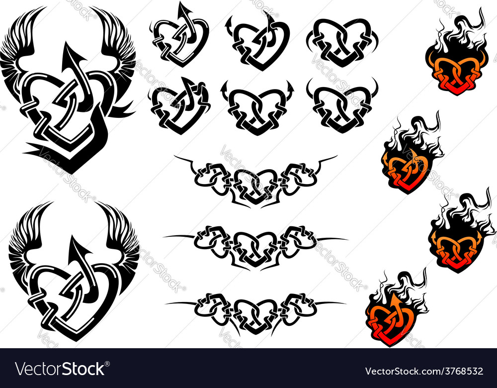 Entwined hearts tattoos with wings and flames vector image
