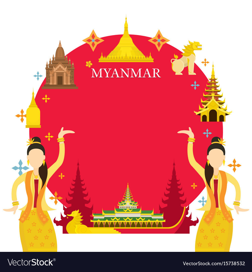 Myanmar landmarks traditional dance frame vector image