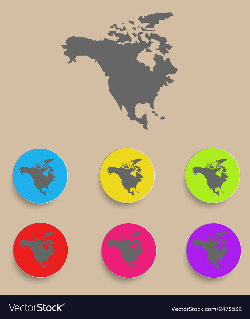 North America Map icon isolated Royalty Free Vector Image