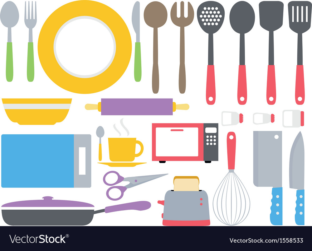 Colourful kitchen collection vector image