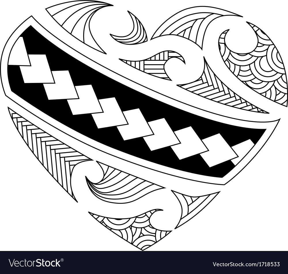 Maori heart Royalty Free Vector Image - VectorStock